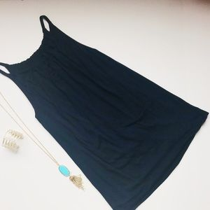 CABI navy blue halter lines tunic top